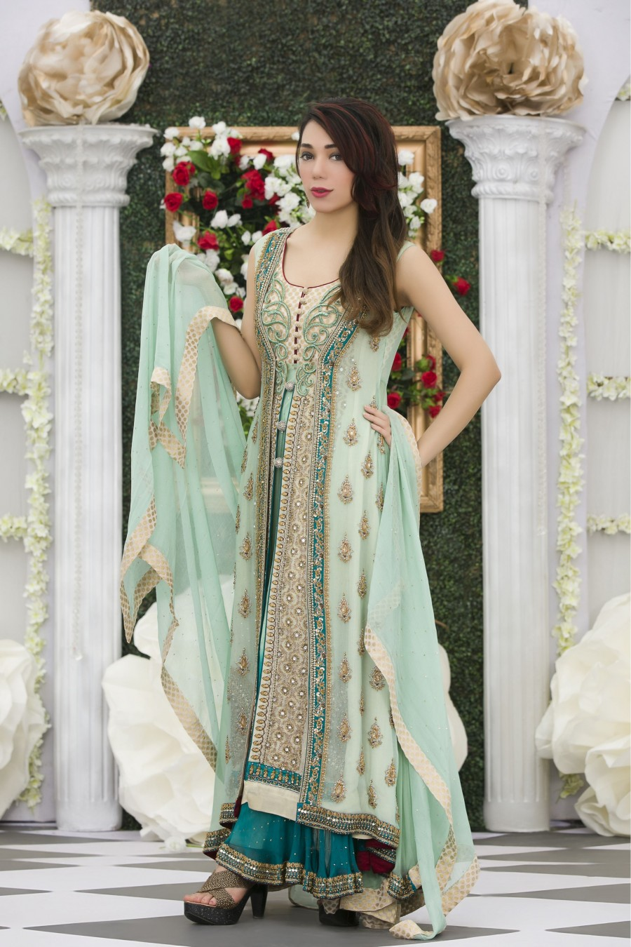 Exclusive aqua green color bridal dress for Cheap pakistani wedding dresses