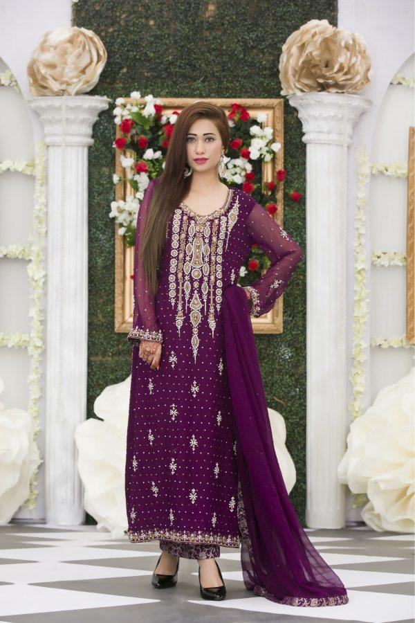 EXCLUSIVE PURPLE COLOR BRIDAL DRESS