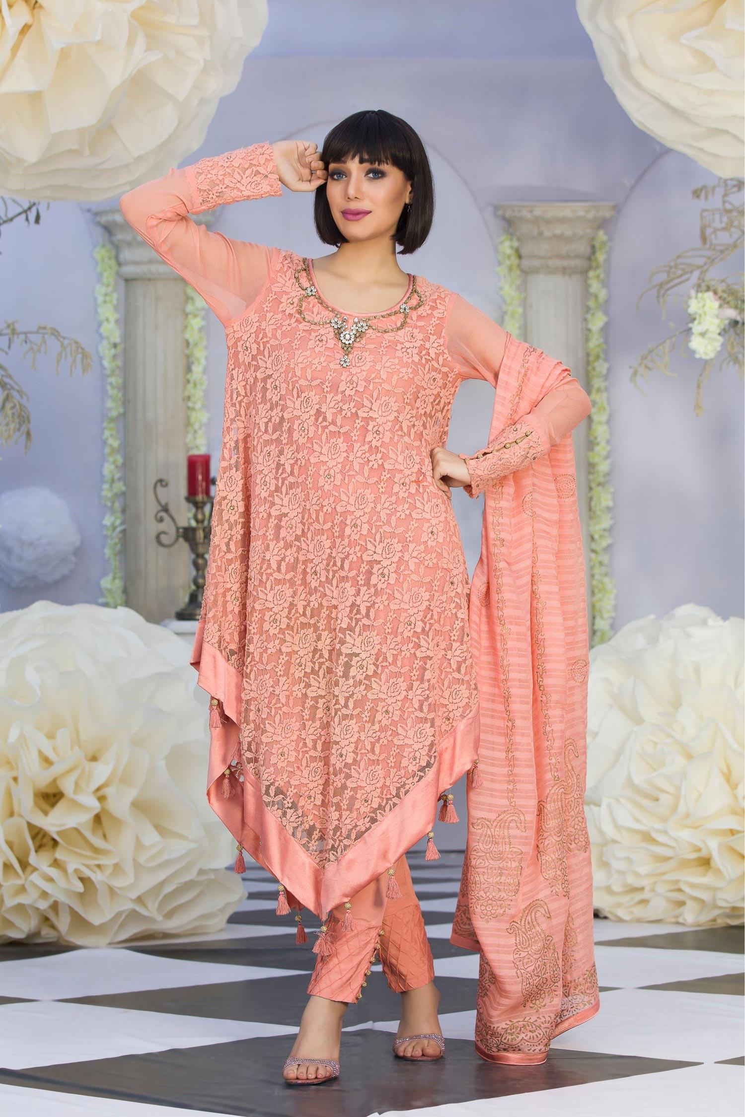 Exclusive Peach Color Latest Design Casual Dress