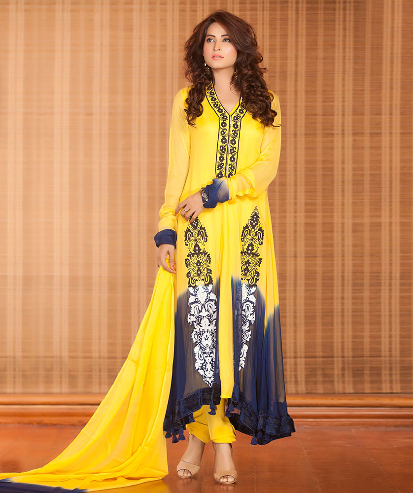 Mehndi Party Dresses 2016 : Yellow blue mehndi dress exclusiveinn