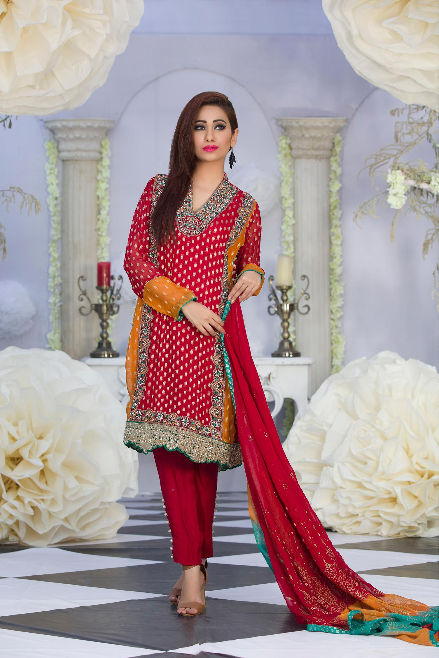 exclusive red dress for party  u2013 eid collection 2016