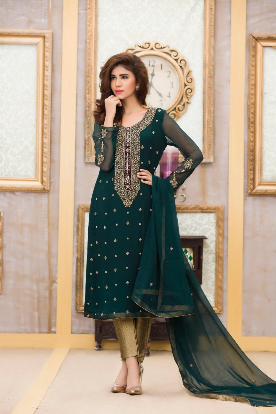 Exclusive Boutique Incredible Bottle Green Bridal Dress