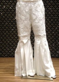 white peplum pants