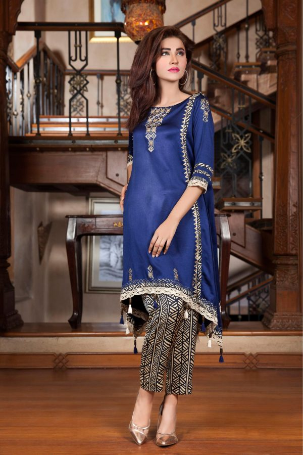 Navy Blue HAND WORK and BLOCK PRINTING Casual Dress