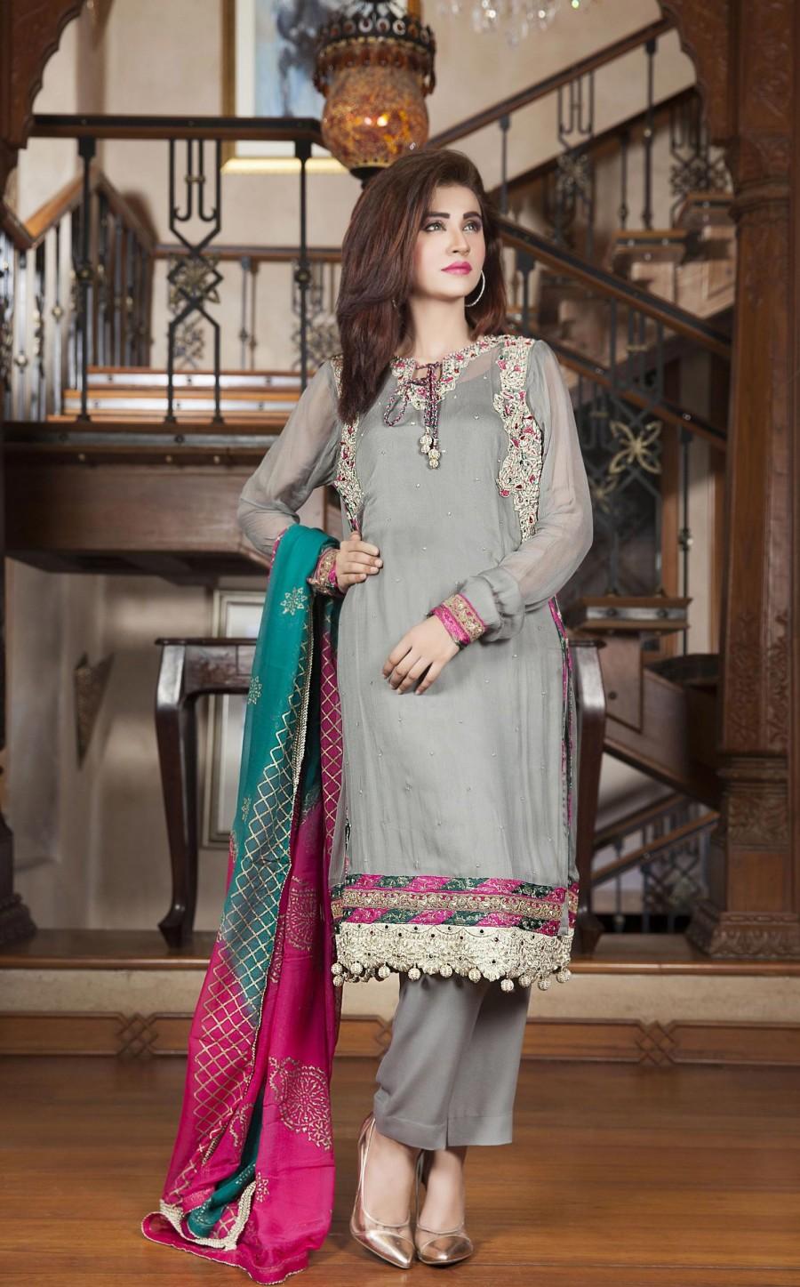 Chiffon Grey Color Exclusive Party Dress - Exclusive Online Boutique