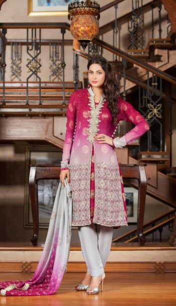 HAND WORK & BLOCK PRINTING MAGENTA Party Dress 2021