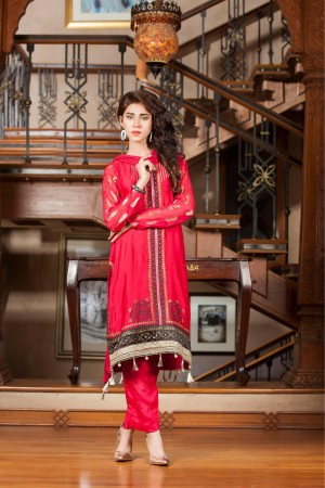 KHADDI NET & EMBROIDERED RED Casual Dress
