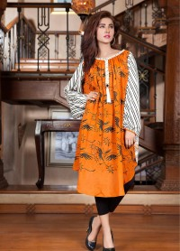 Orange Color HAND TOUCH & BLOCK PRINTING KUrti