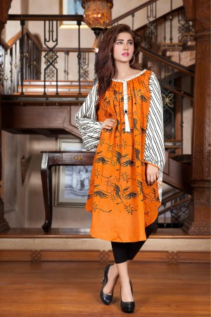 Orange Color Hand Touch Amp Block Printing Kurti Exclusive