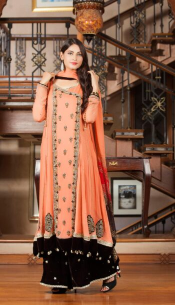 Exclusive Orange Color Bridal Dress 2021
