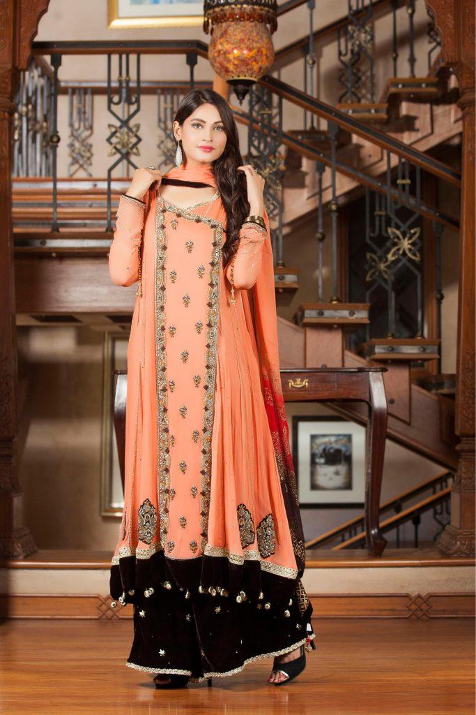 Exclusive Orange Color Bridal Dress 2021