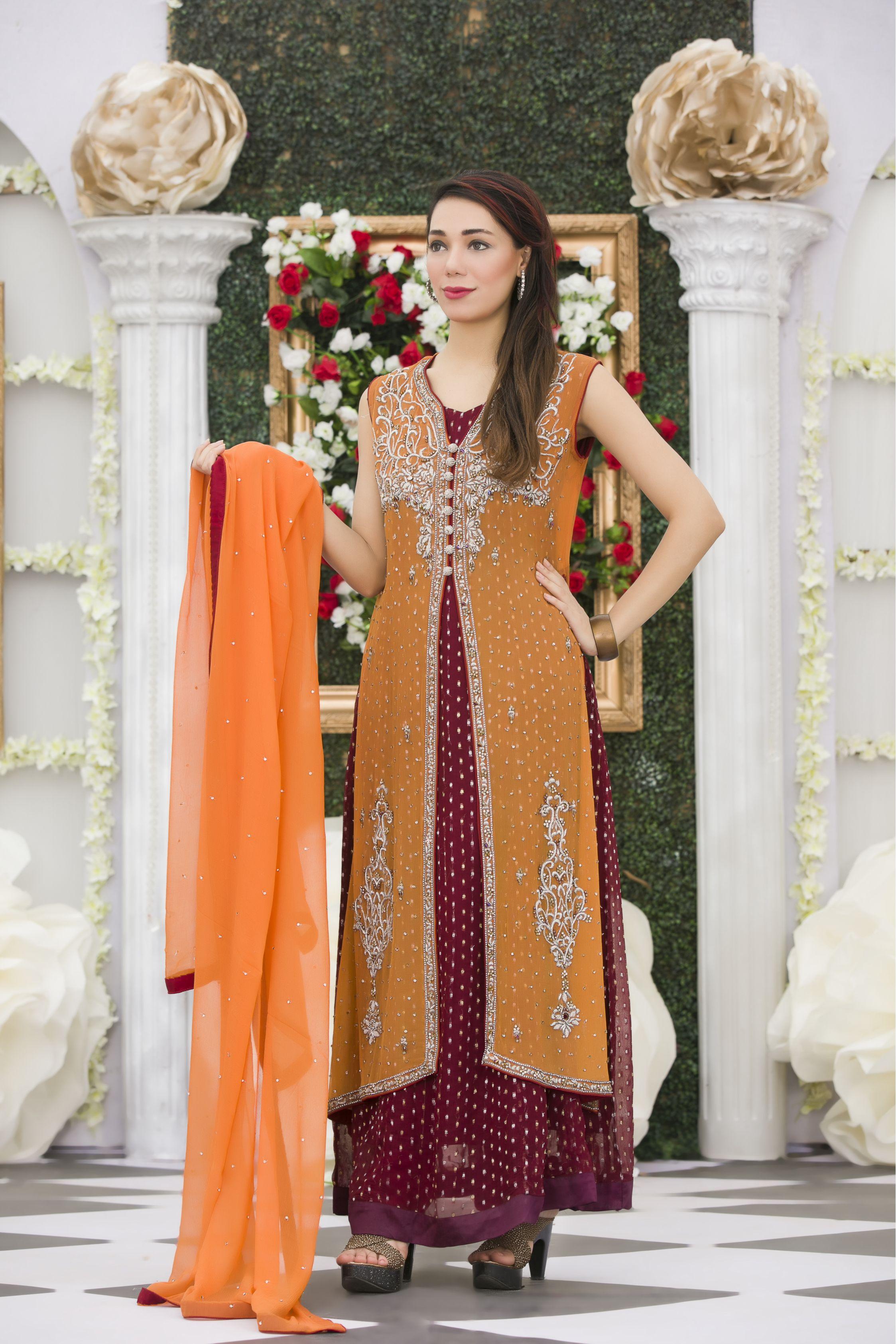 Exclusive orange maroon bridal dress exclusive online boutique indian bridal dresses ombrellifo Gallery