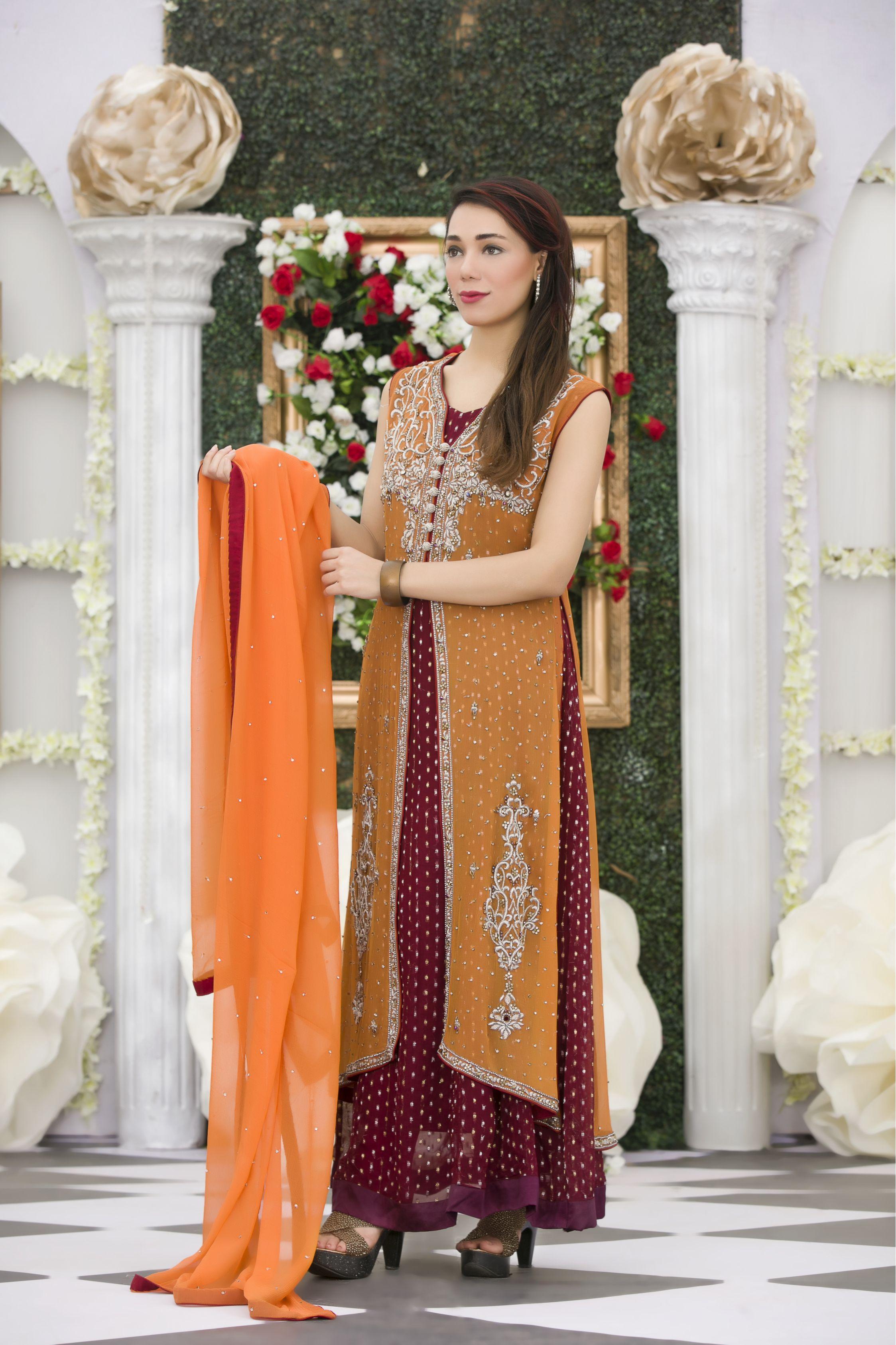 Buy Exclusive Orange Maroon Mehndi Dress Online In USA, Uk & Pakistan - 01