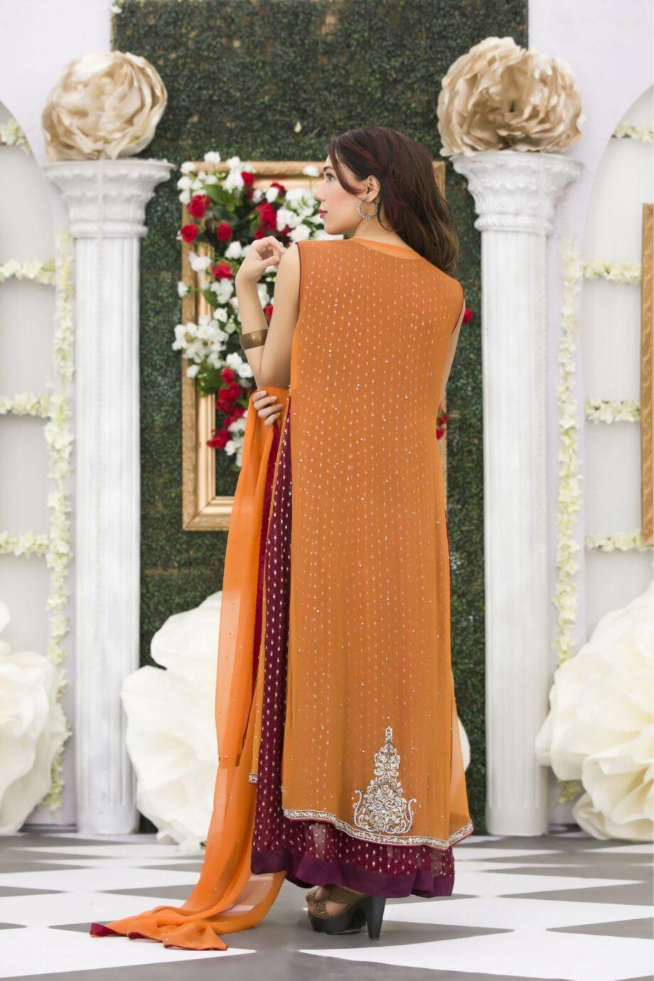 Buy Exclusive Orange Maroon Mehndi Dress Online In USA, Uk & Pakistan