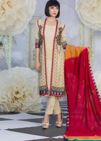 Exclusive Fawn and Red Color Latest Design Party Dress