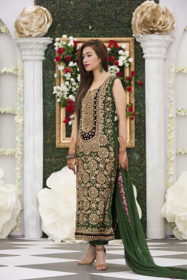 Buy Exclusive Bottle Green Mehndi Dress Online In USA, Uk & Pakistan - 02