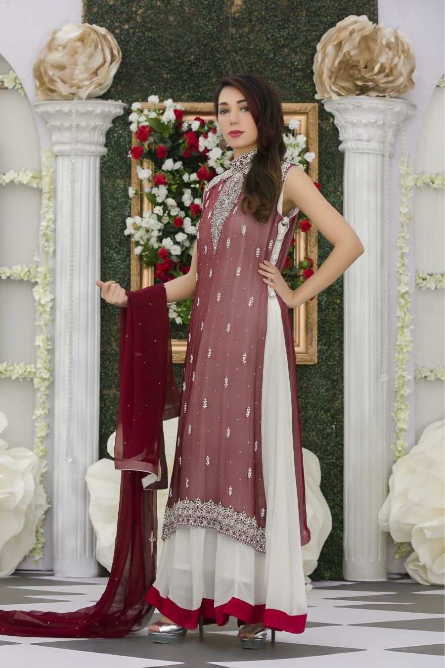 Maroon color wedding dresses