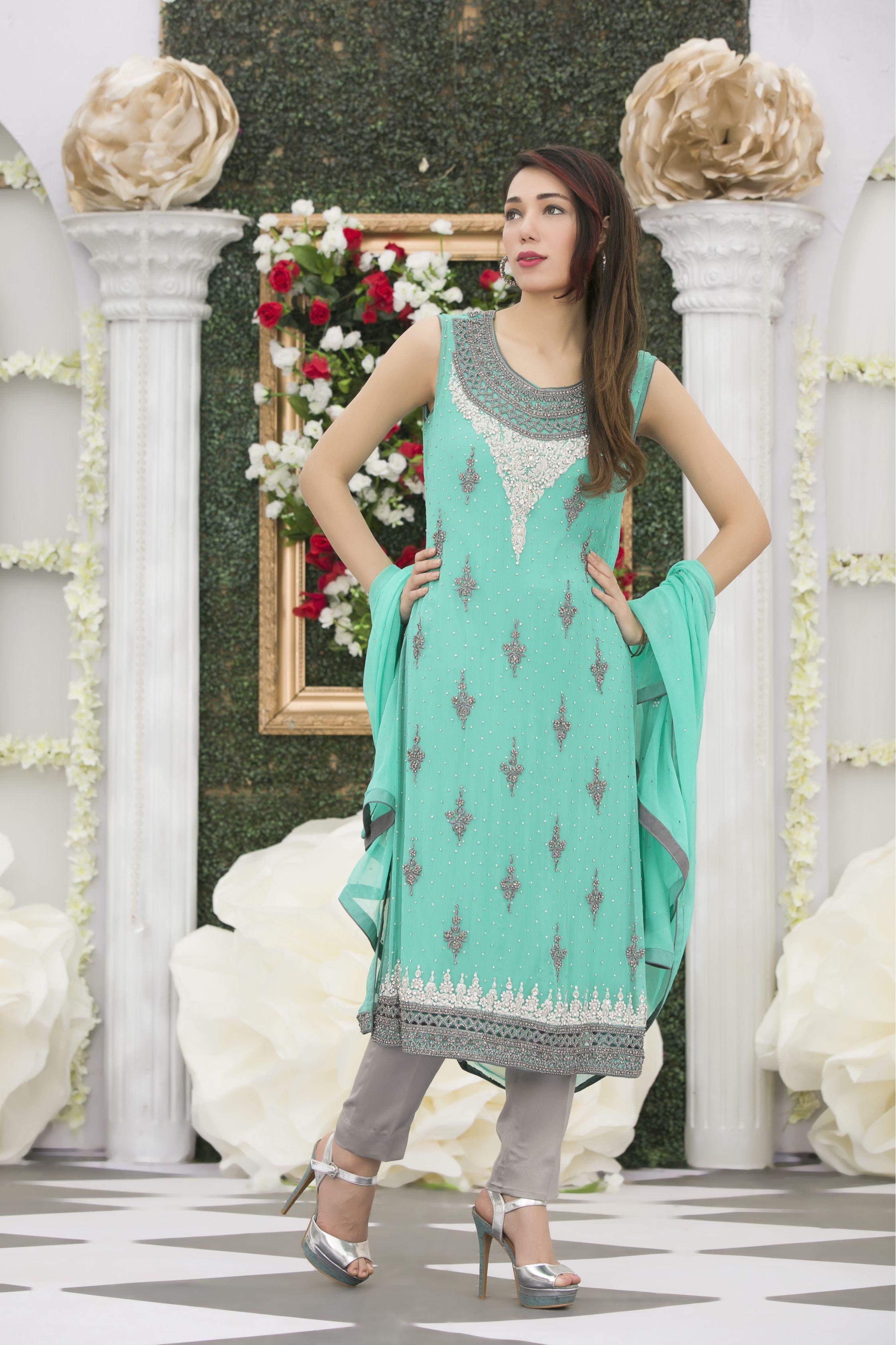 EXCLUSIVE LIGHT FIROZI BRIDAL DRESS - Exclusive Online Boutique