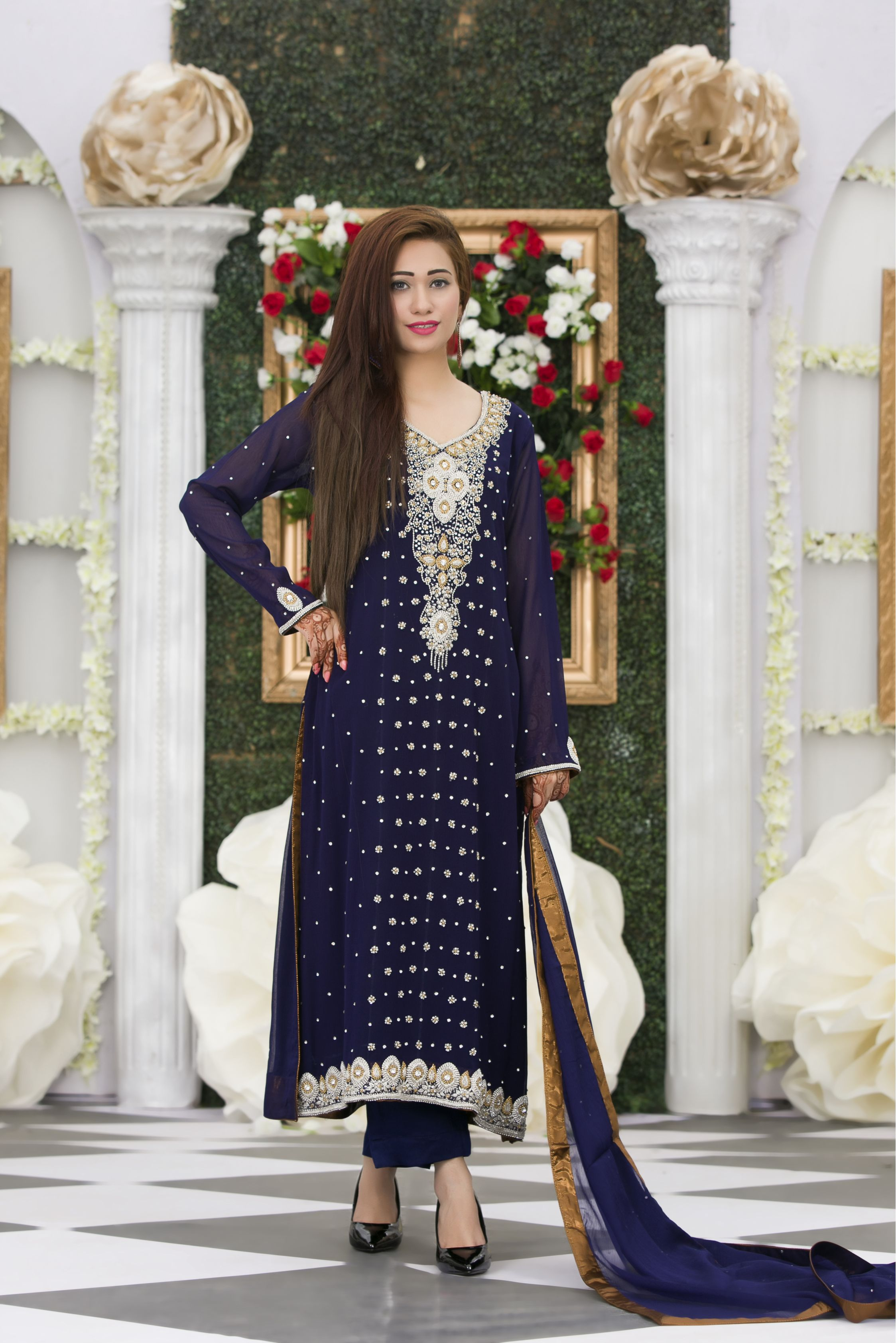 Exclusive navy blue bridal dress exclusive online boutique for Navy blue dresses for weddings