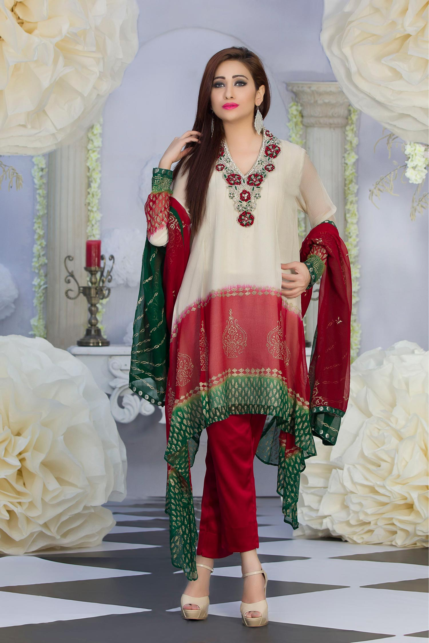 Exclusive Off White Maroon Green Color Latest Design Party