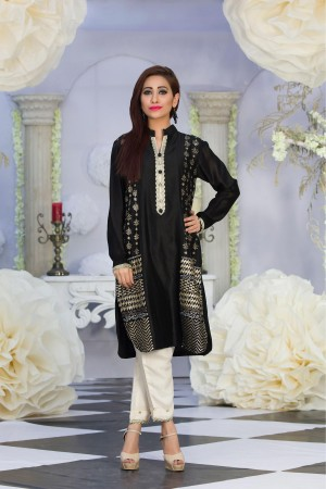 Exclusive Black & Offwhite Color Latest Design Casual Dress