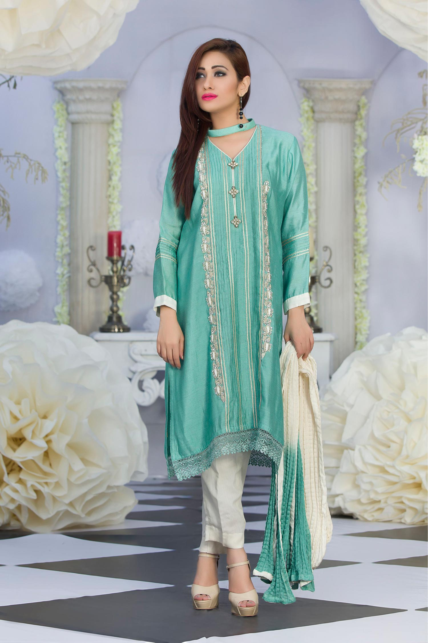 Exclusive Feerozi Green Color Latest Design Party Dress - Exclusive ...
