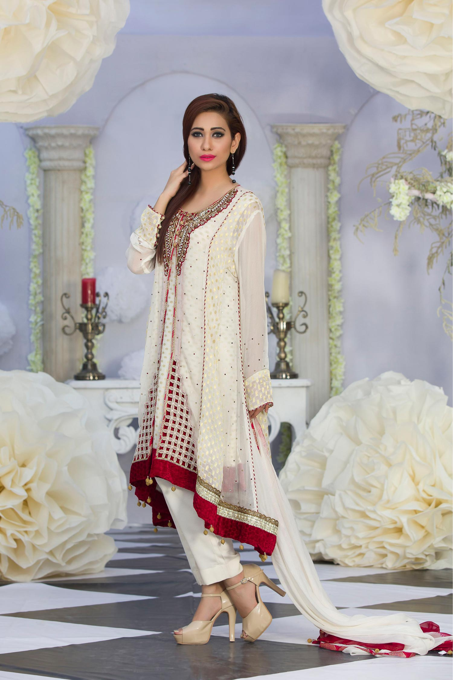 Attractive Off White Color Embroidered Long Kaftan Dresses