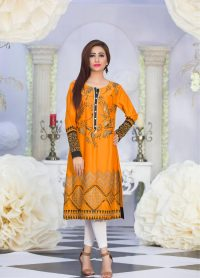 Exclusive Orange Color Latest Design Casual Kurti