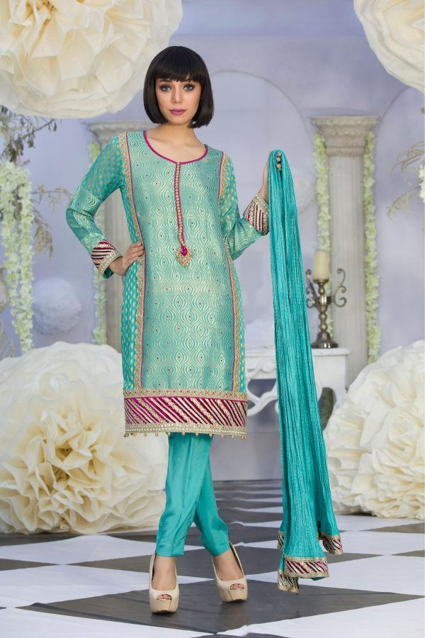Exclusive Green Color Latest Design Party Dress