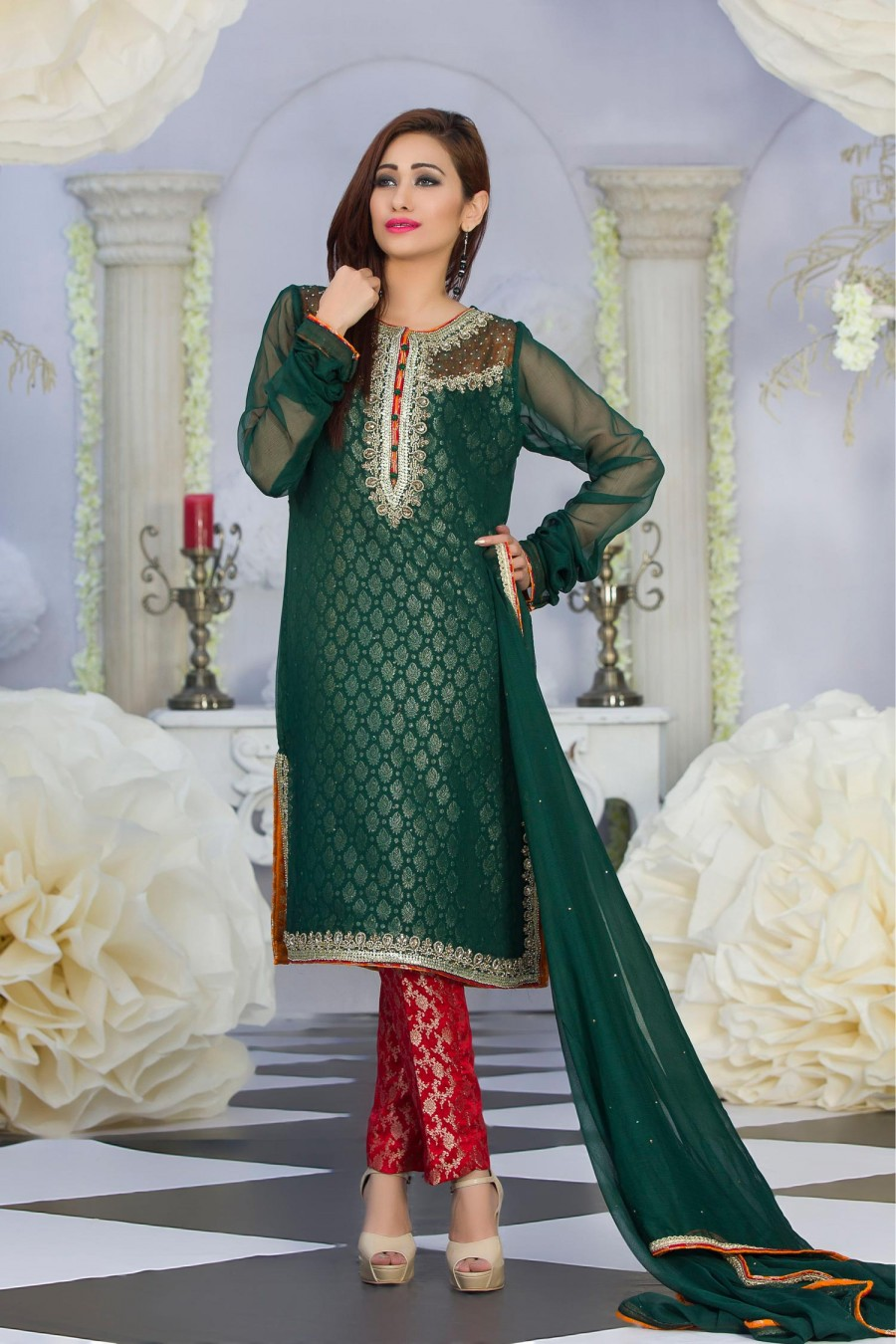 Exclusive Green Amp Red Color Latest Design Party Dress