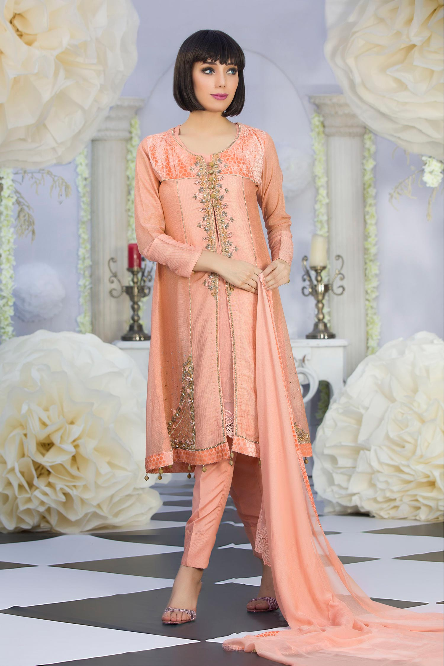 2ac068eeb7a Exclusive Latest Peach Color Party Dress - Exclusive Online Boutique