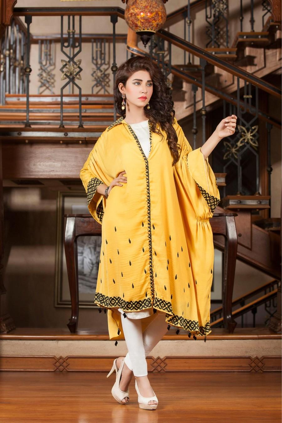 Mehndi Party Dress Code : Yellow color exclusive mehndi dress kurti online boutique