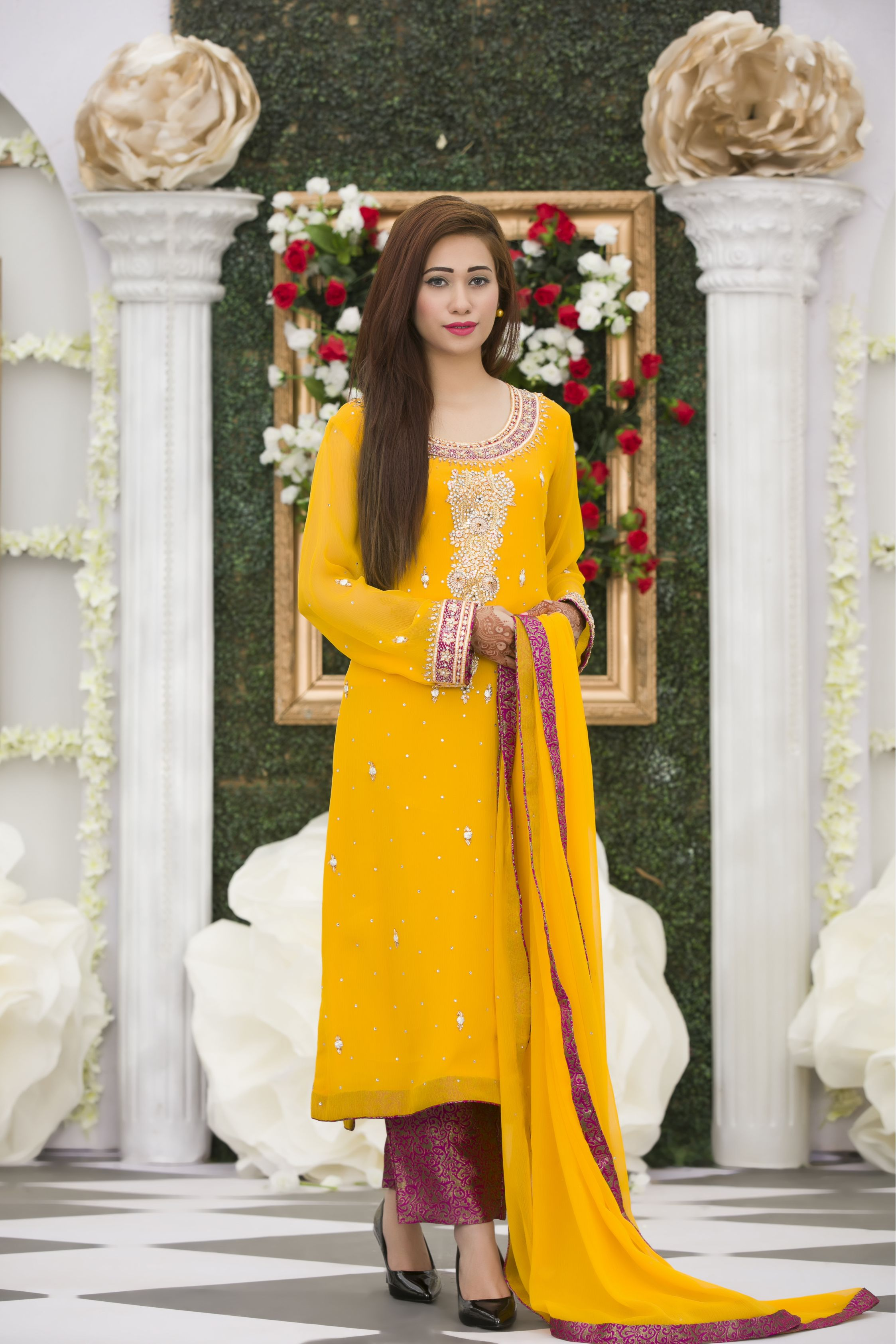 White Mehndi Outfits : Exclusive yellow magenta mehndi dress online