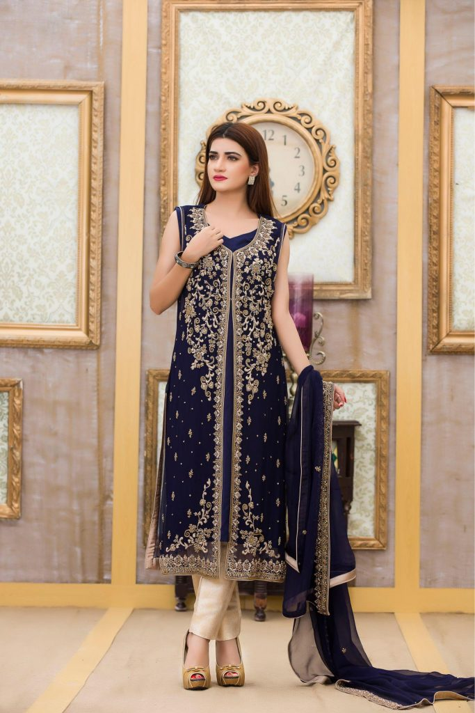 Buy Exclusive Boutique Blue Navy Bridal Dress - G10840 Online In USA, Uk & Pakistan