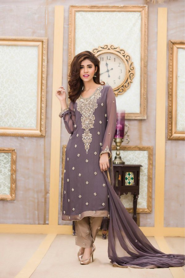 Buy Exclusive Boutique Deep Grey Bridal Dress -G11117 Online In USA, Uk & Pakistan