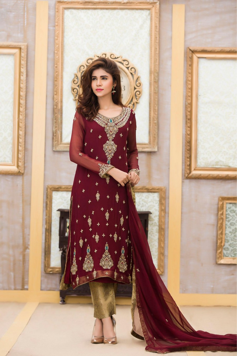 Exclusive bridal stylish maroon color dress exclusive for Wedding dress boutiques online