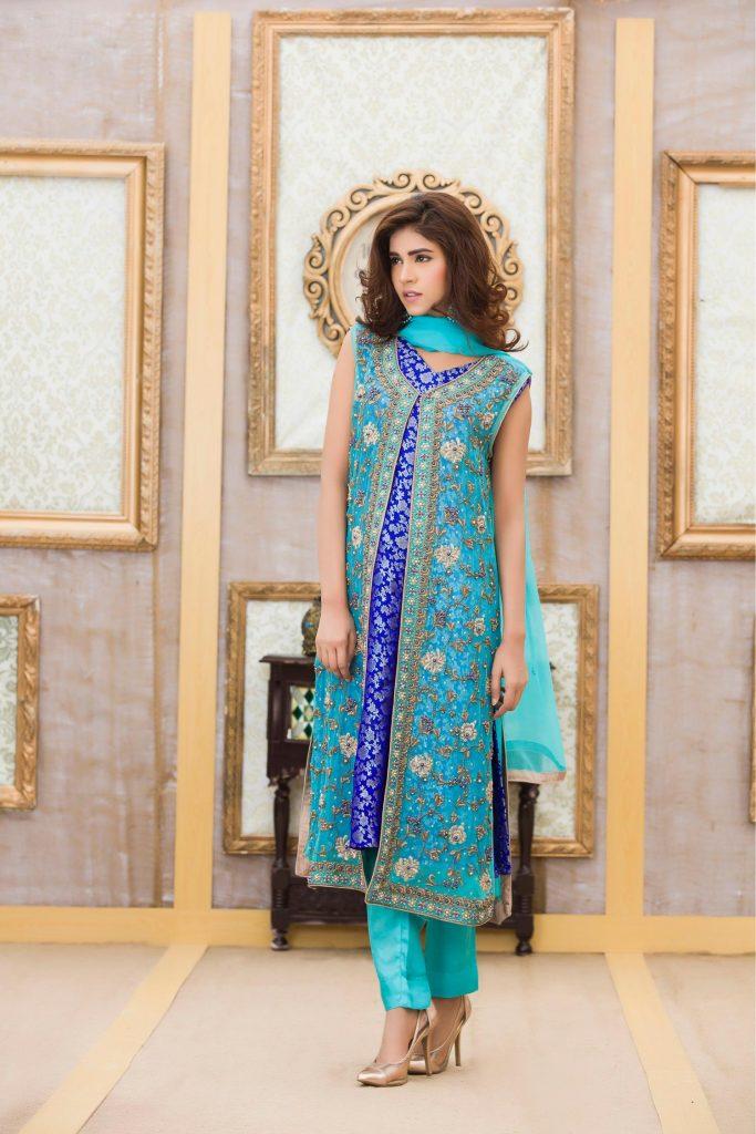 Buy Exclusive Boutique Light Ferozi & Blue Bridal Dress - G11672 Online In USA, Uk & Pakistan - 02