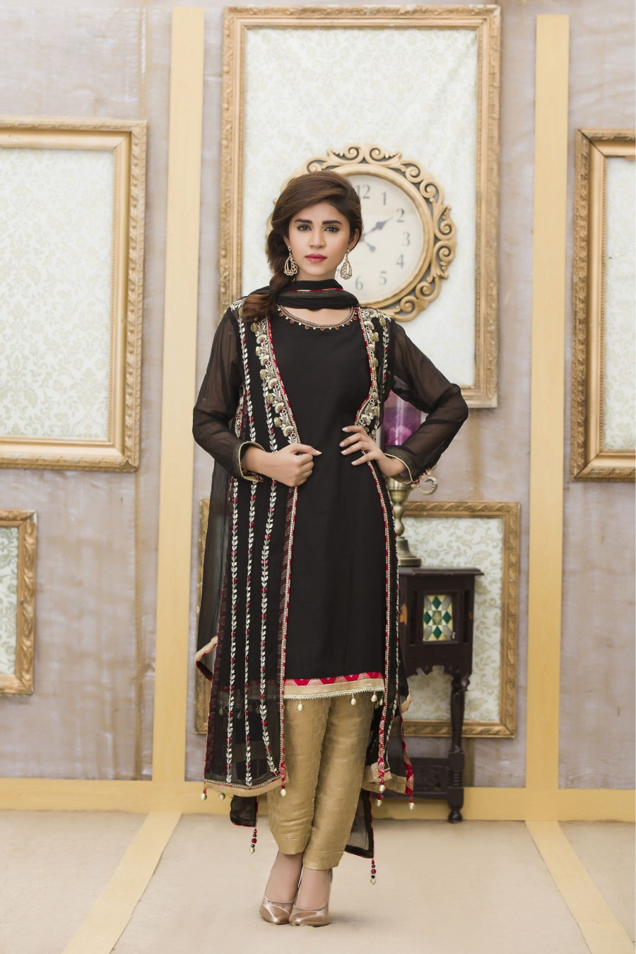 MEHNDI AND BLACK COLOR EXCLUSIVE BOUTIQUE PARTY DRESS - Exclusive ...