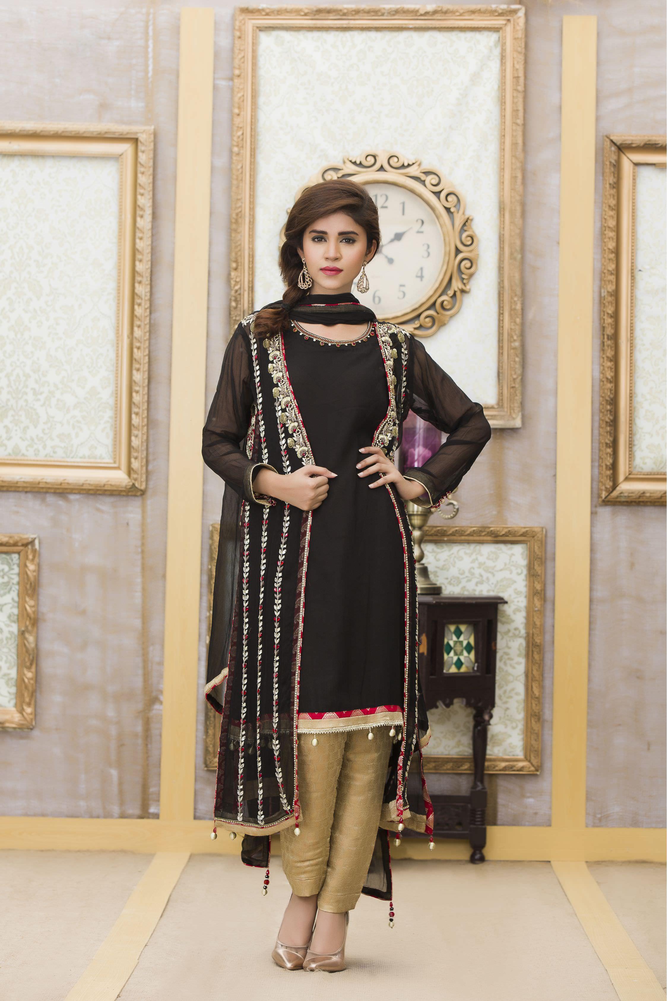 Mehndi And Black Color Exclusive Boutique Party Dress