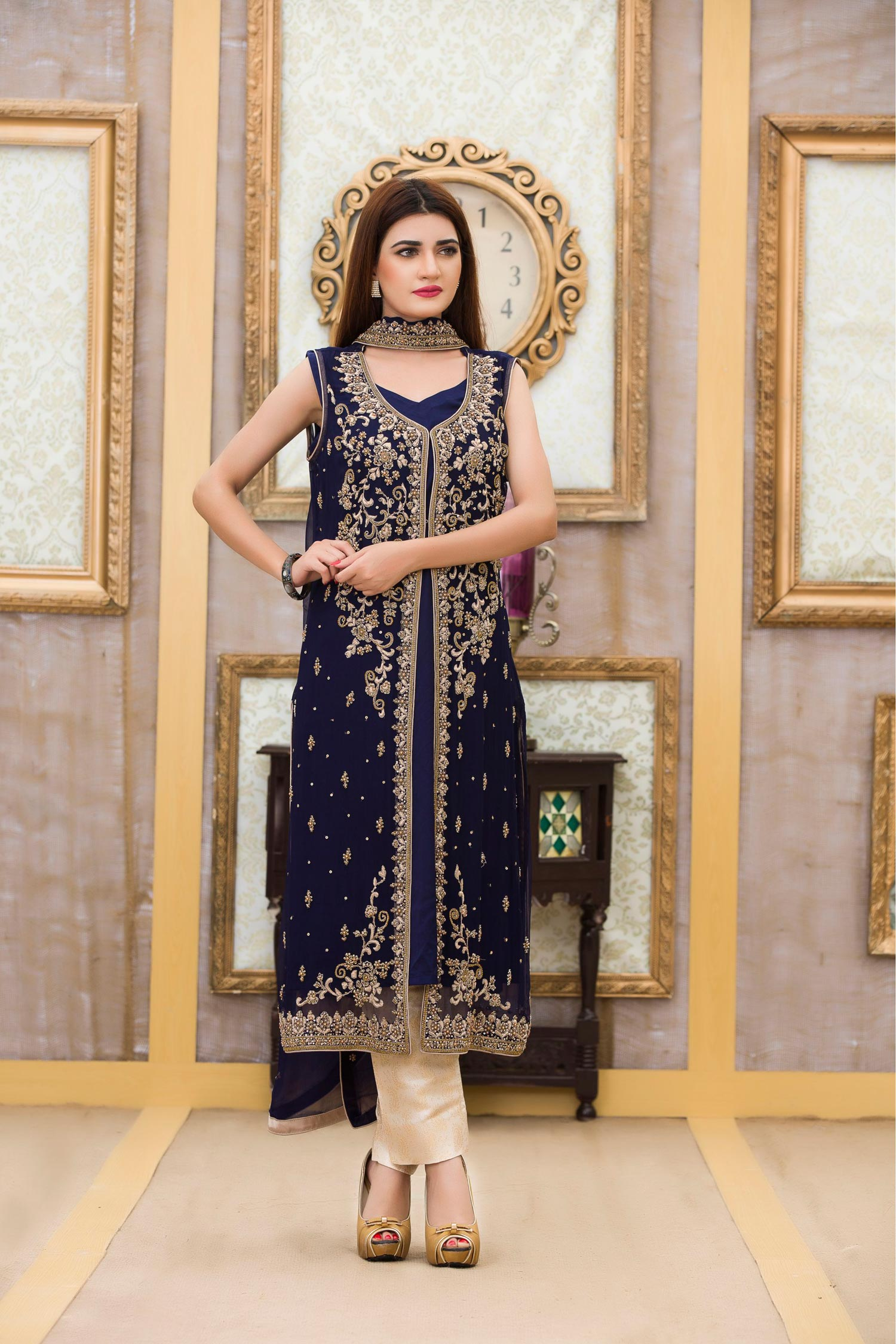 Buy Exclusive Boutique Blue Navy Bridal Dress - G10840 Online In USA, Uk & Pakistan - 01