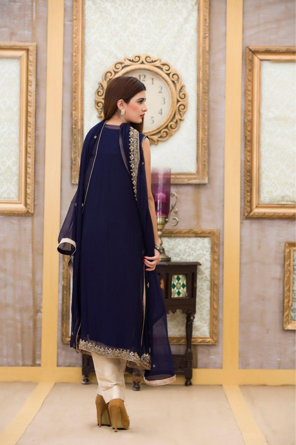 Buy Exclusive Boutique Blue Navy Bridal Dress - G10840 Online In USA, Uk & Pakistan - 02