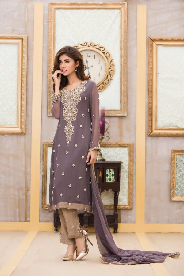 Buy Exclusive Boutique Deep Grey Bridal Dress -G11117 Online In USA, Uk & Pakistan - 01