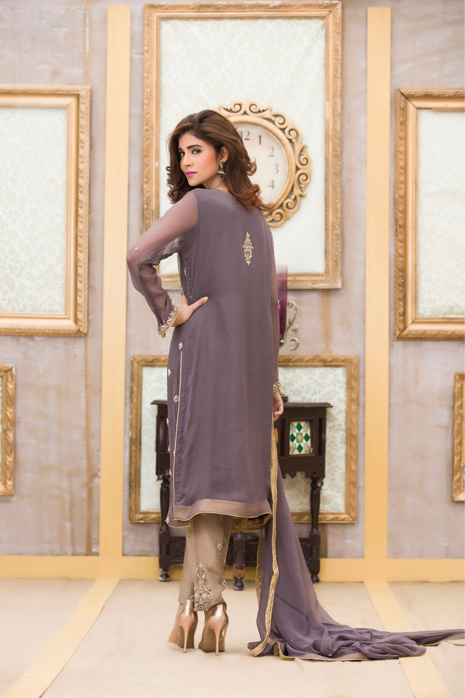 Buy Exclusive Boutique Deep Grey Bridal Dress -G11117 Online In USA, Uk & Pakistan - 02