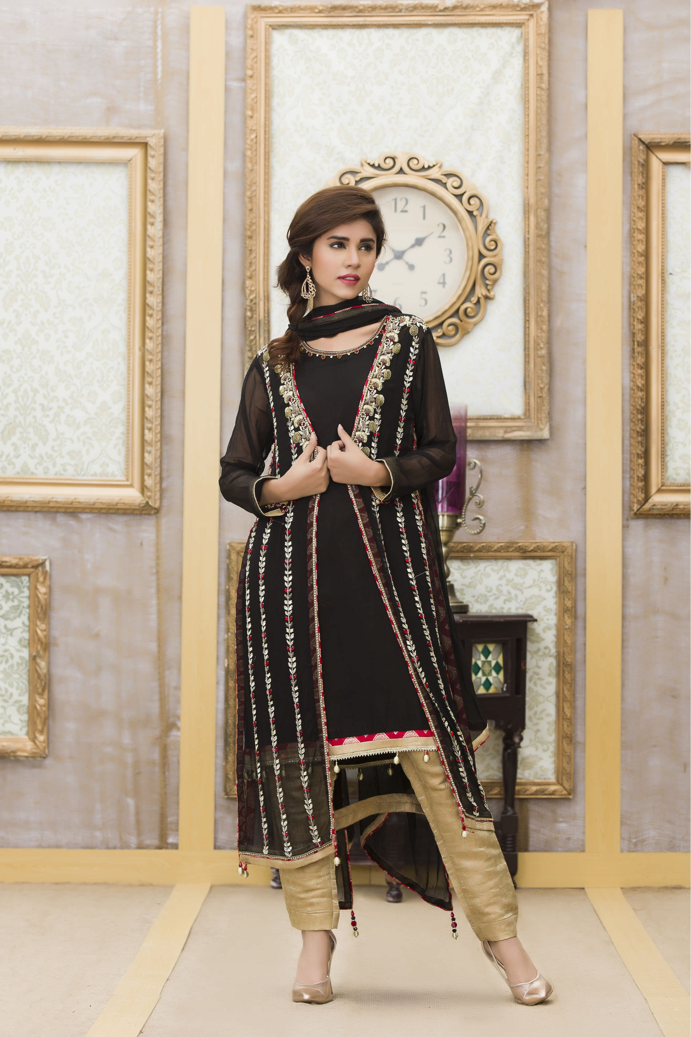 Party Dresses For Mehndi : Mehndi and black color exclusive boutique party dress
