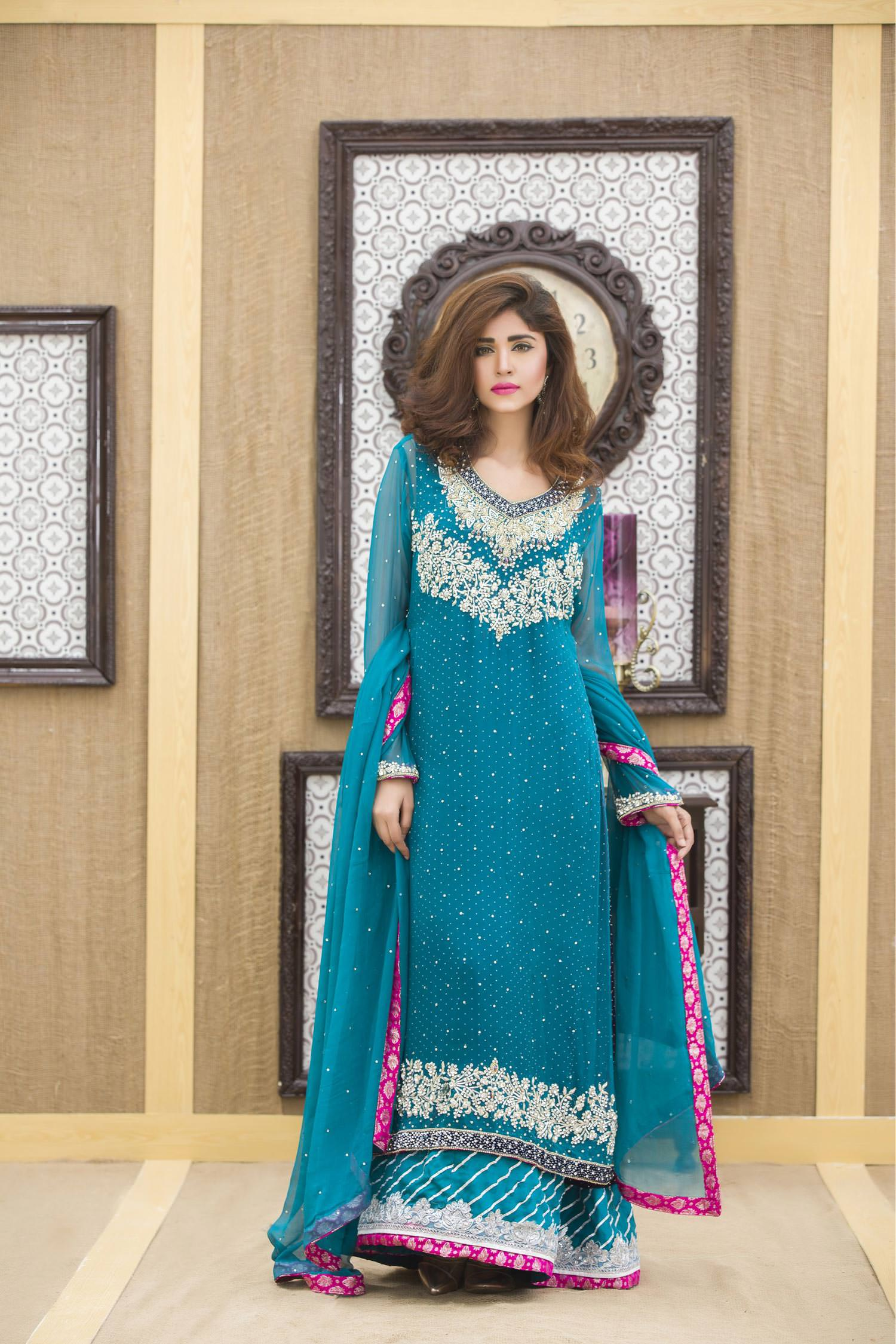 A SEA GREEN NAVY BLUE HAND EMBROIDERY BRIDAL DRESS - Exclusive ...