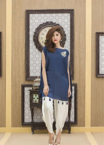 Buy Exclusive Navy Blue And Off White Color Casual Dress-Yc244 Online In USA, Uk & Pakistan