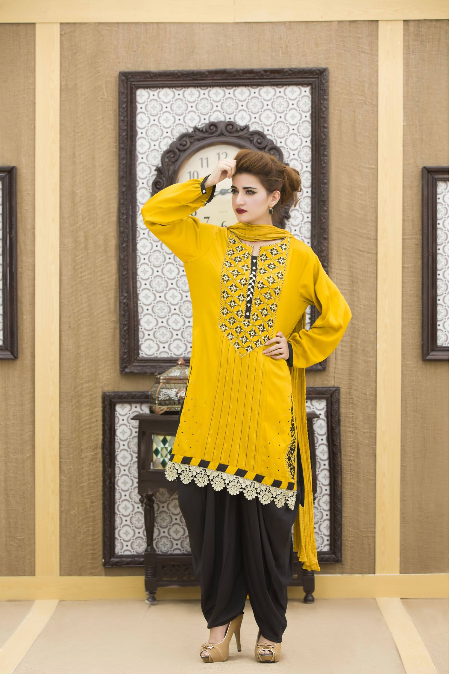 a6b3739a0e EXCLUSIVE YELLOW AND BLACK COLOR CASUAL DRESS-SAC1897 - Exclusive ...