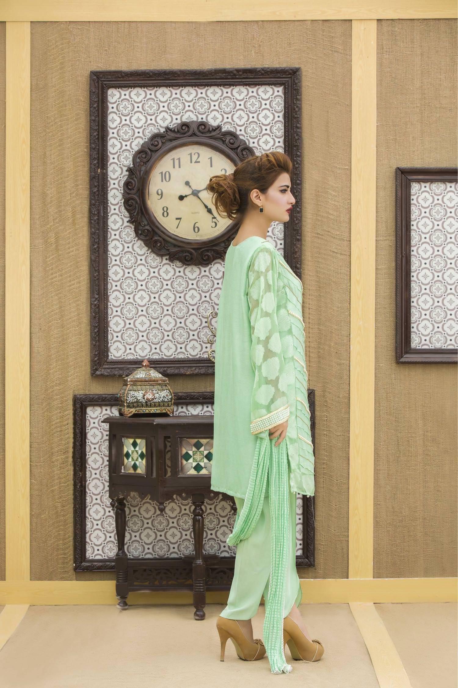 Exclusive Pista Green Color Casual Dress Yc212 Exclusive