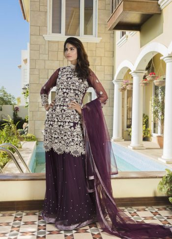 Buy Purple Color Bridal Dress – G11728 Online In USA, Uk & Pakistan - 01