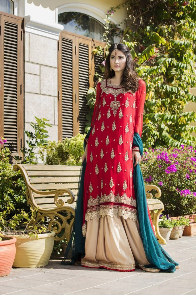 Buy Red, Bottle Green And Fone Color Bridal Dress – G12069 Online In USA, Uk & Pakistan - 06